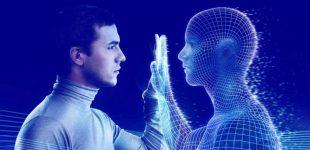 Montagem com homem de perfil tocando com sua palma da mão uma imagem computadorizada representativa de um ser humano.